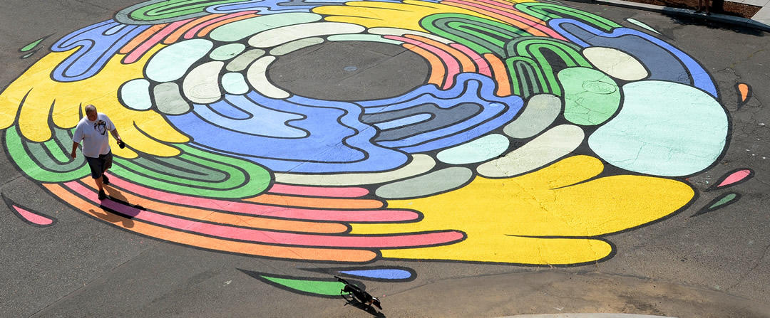 photo of colorful street painting in the Lloyd neighborhood