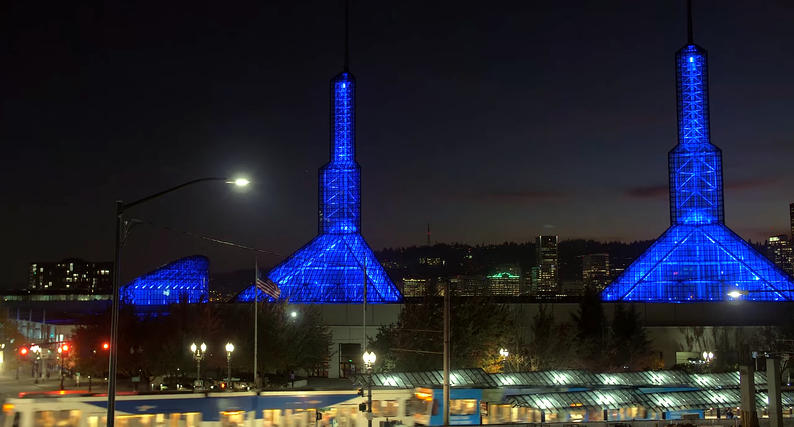OCC's Spire and Crescent Lights in blue