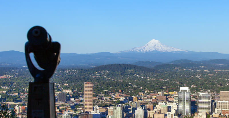 photo of downtown Portland with a view of Mount Hood