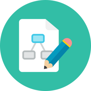 icon of a flow chart and pencil