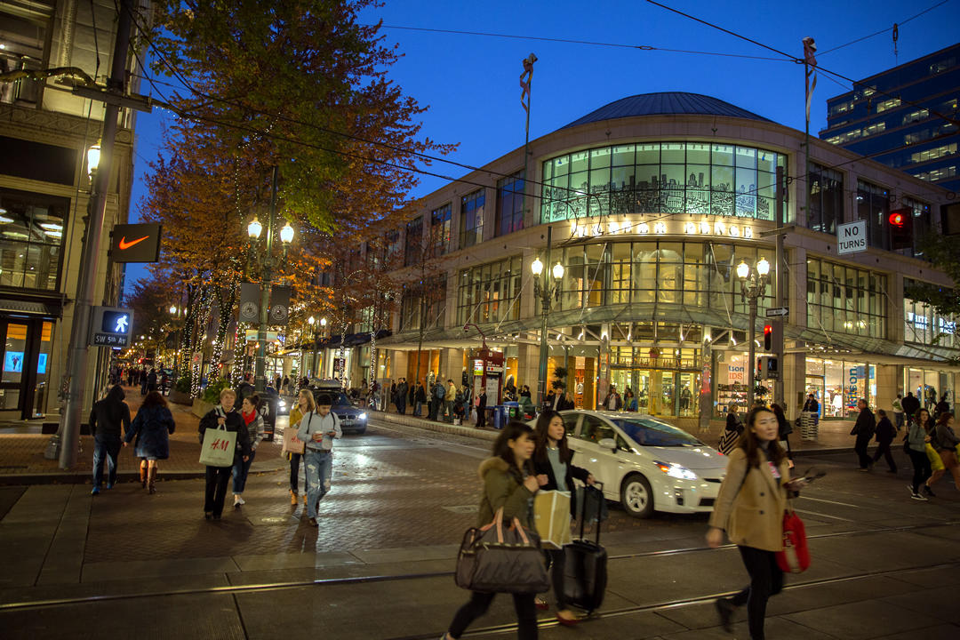 photo of Portland shops at night