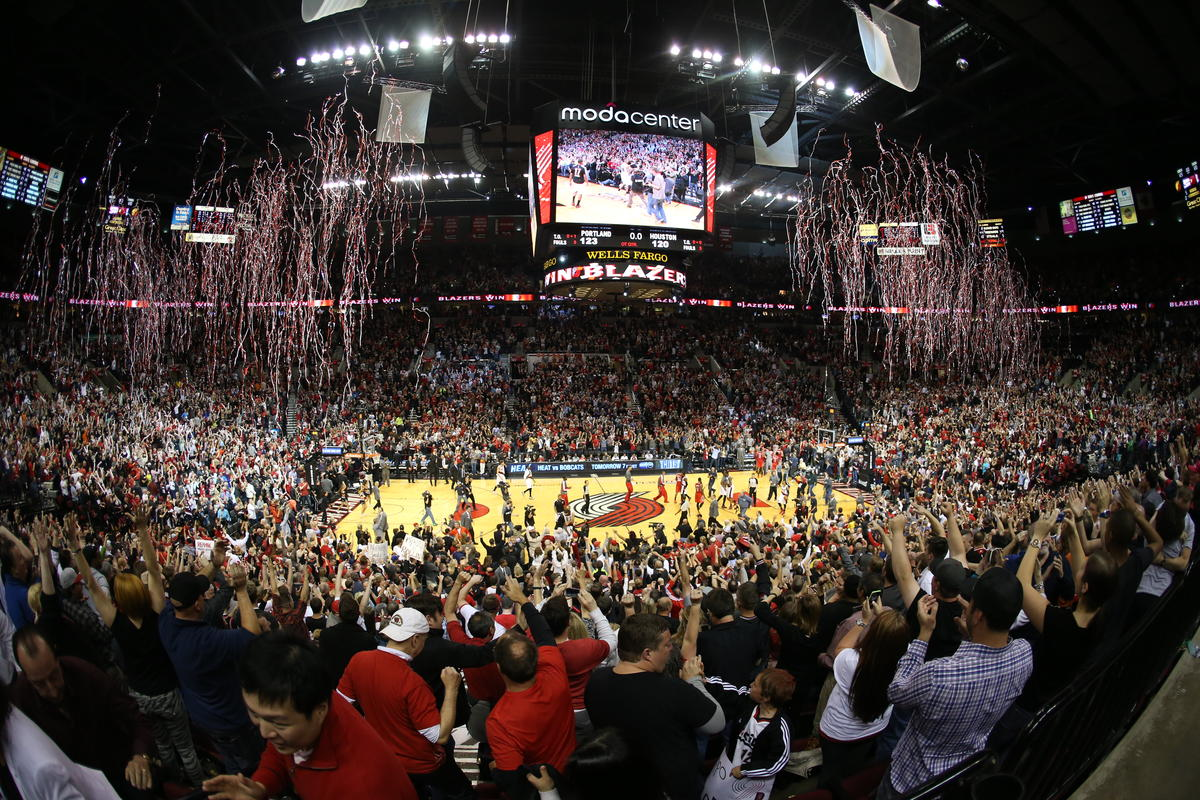 photo of a Blazers game at the Moda Center