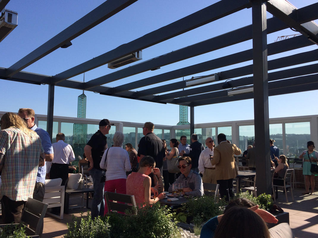 photo of a rooftop gathering