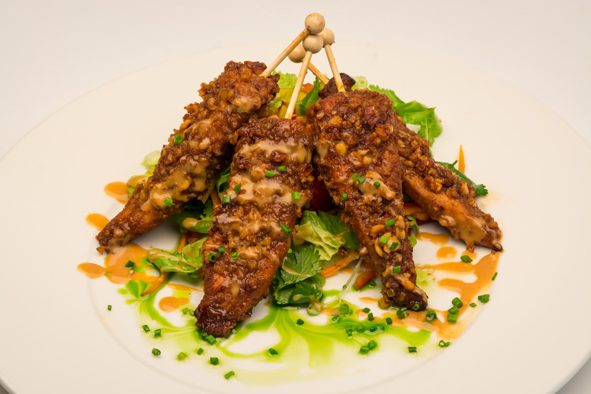 photo of chicken with peanut sauce