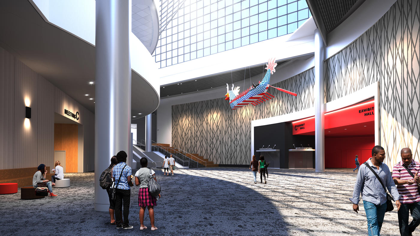 artist rendering of OCC Exhibit Hall C Lobby renovation