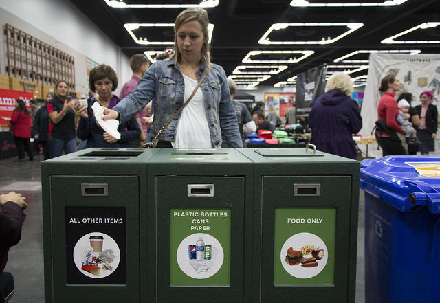 photo of OCC guest using recycling station