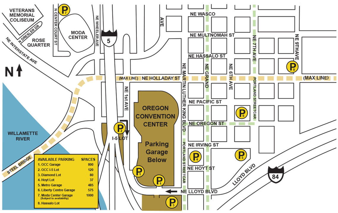 a map of parking locations in and around the oregon convention center