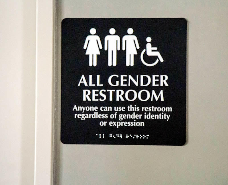 photo of all gender restroom signage