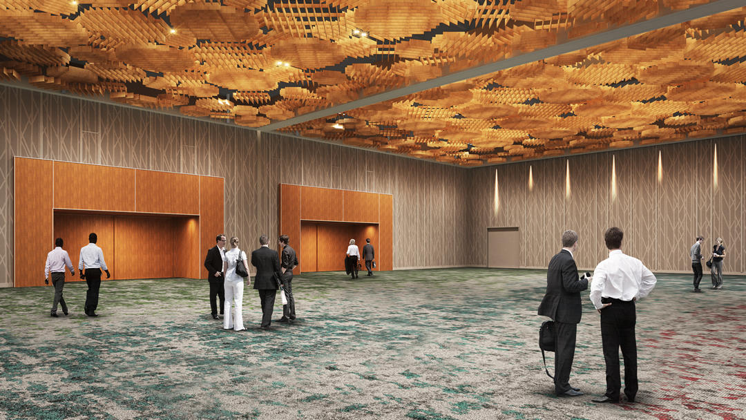 Rendering of the Oregon Convention Center's Oregon Ballroom.