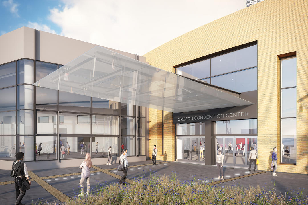 Rendering of the Oregon Convention Center's main entry on MLK Boulevard