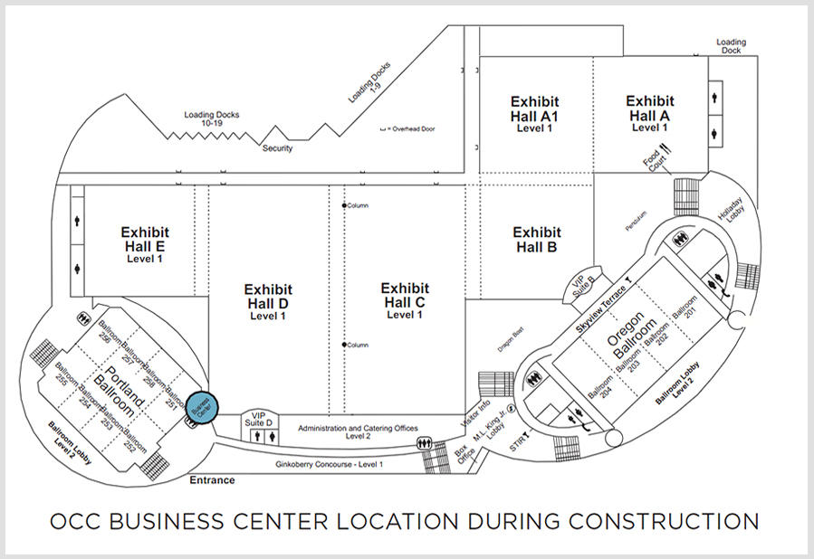 map of temporary business center location during construction
