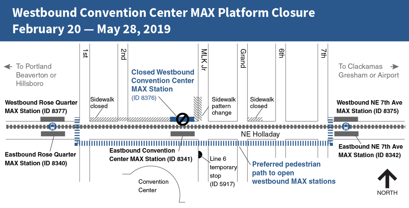 Map of TriMet MAX westbound train closure at the Convention Center station