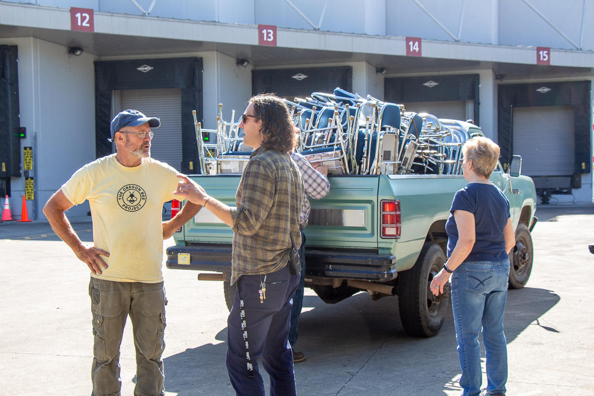 Ryan Harvey, Sustainability Manager at the Oregon Convention Center oversees the donation of thousands of chairs to local non profits in the region.