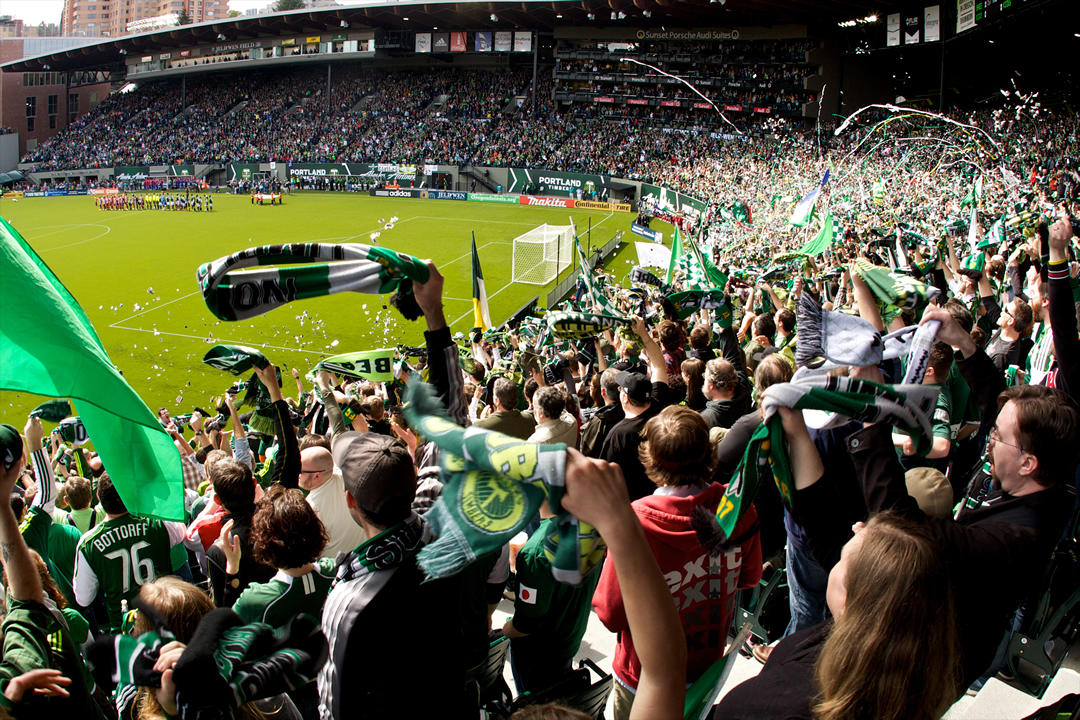 photo of crowd at a Portland Timbers game