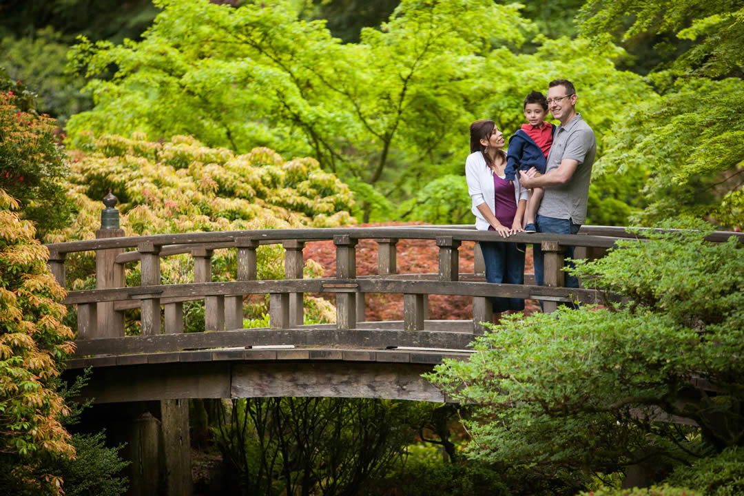photo of a family on the Moonbridge in Portland
