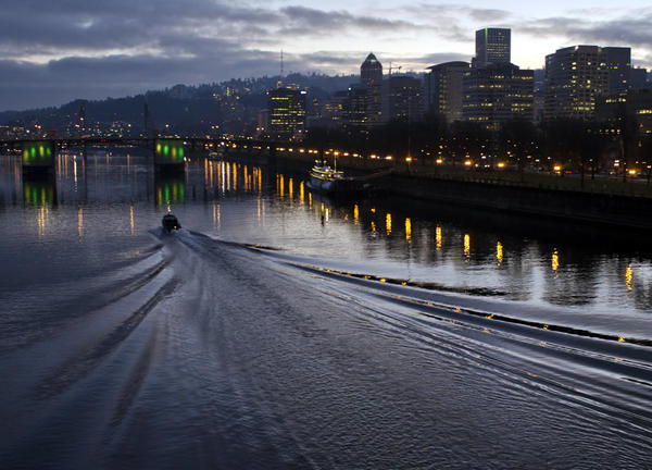 photo of Portland and Willamette River at dusk