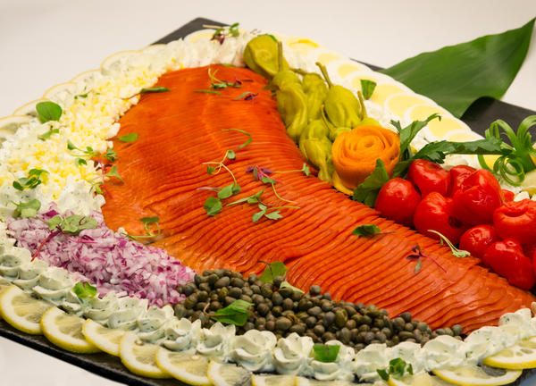 photo of a smoked salmon platter