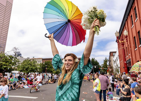 photo of person at Portland Pride Parade