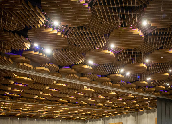 The Oregon Ballroom Ceiling with Purple Lights