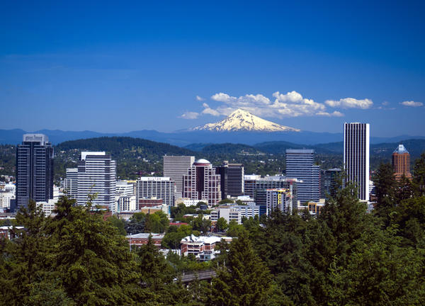 photo of Mount Hood from Portland hilltop